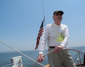 Bob Lawrence at the helm on the Chesapeake Bay, June 2014.